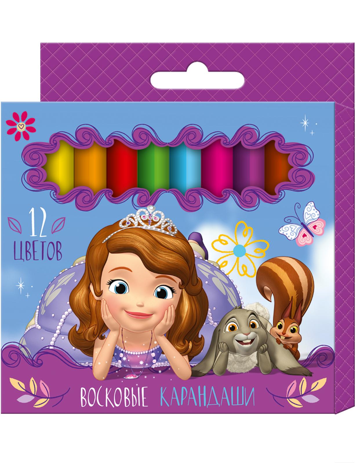 Росмэн Восковые карандаши «Disney София», 12 штук