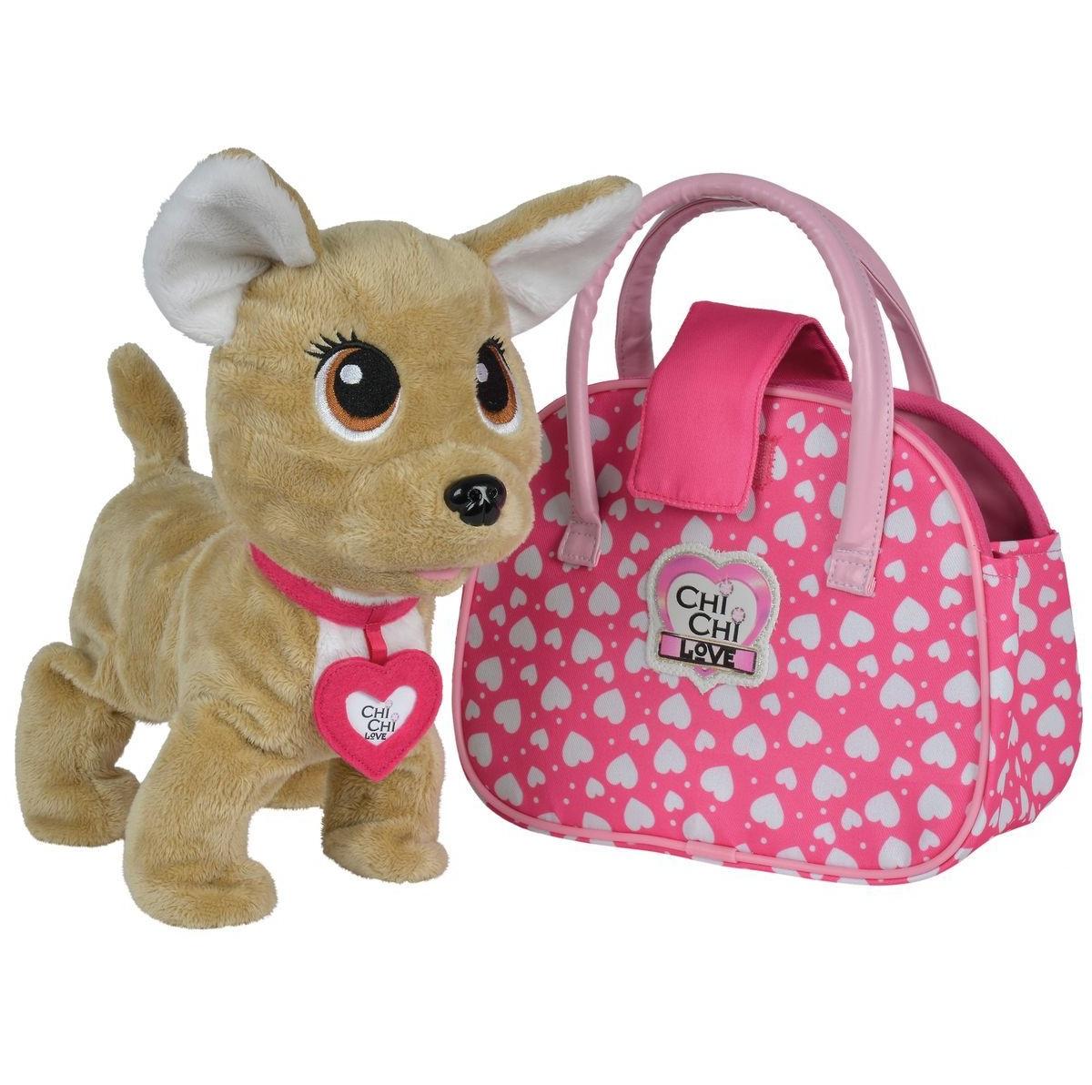 Купить Интерактивная плюшевая собачка Chi-Chi love - Счастливчик, с сумочкой, 20 см, звук, Simba