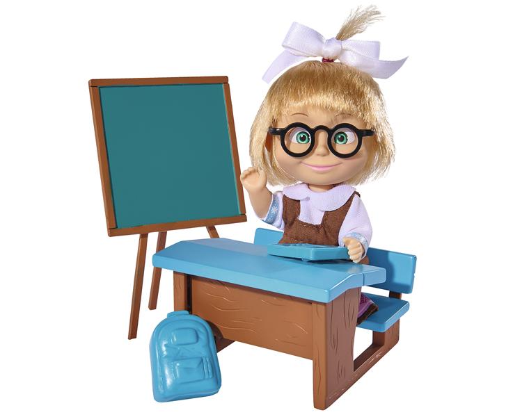 Кукла Маша в школьной форме с классной доской, партой и аксессуарами, 12 см. - Маша и медведь игрушки, артикул: 154518