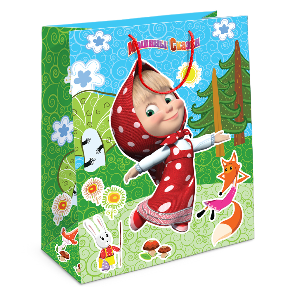 Пакет подарочный - Лесная сказка Маши, 23 х 18 х 10 см.Маша и Медведь<br>Пакет подарочный - Лесная сказка Маши, 23 х 18 х 10 см.<br>