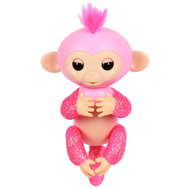 Купить Интерактивная обезьянка Fingerlings – Роза, розовая, 12 см, звук, WowWee
