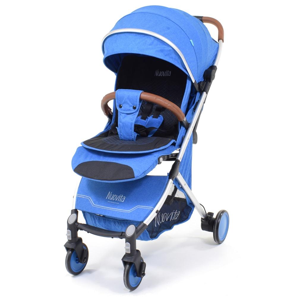 Прогулочная коляска Nuovita Giro, цвет - Blu, Argento / Синий, Серебристый фото