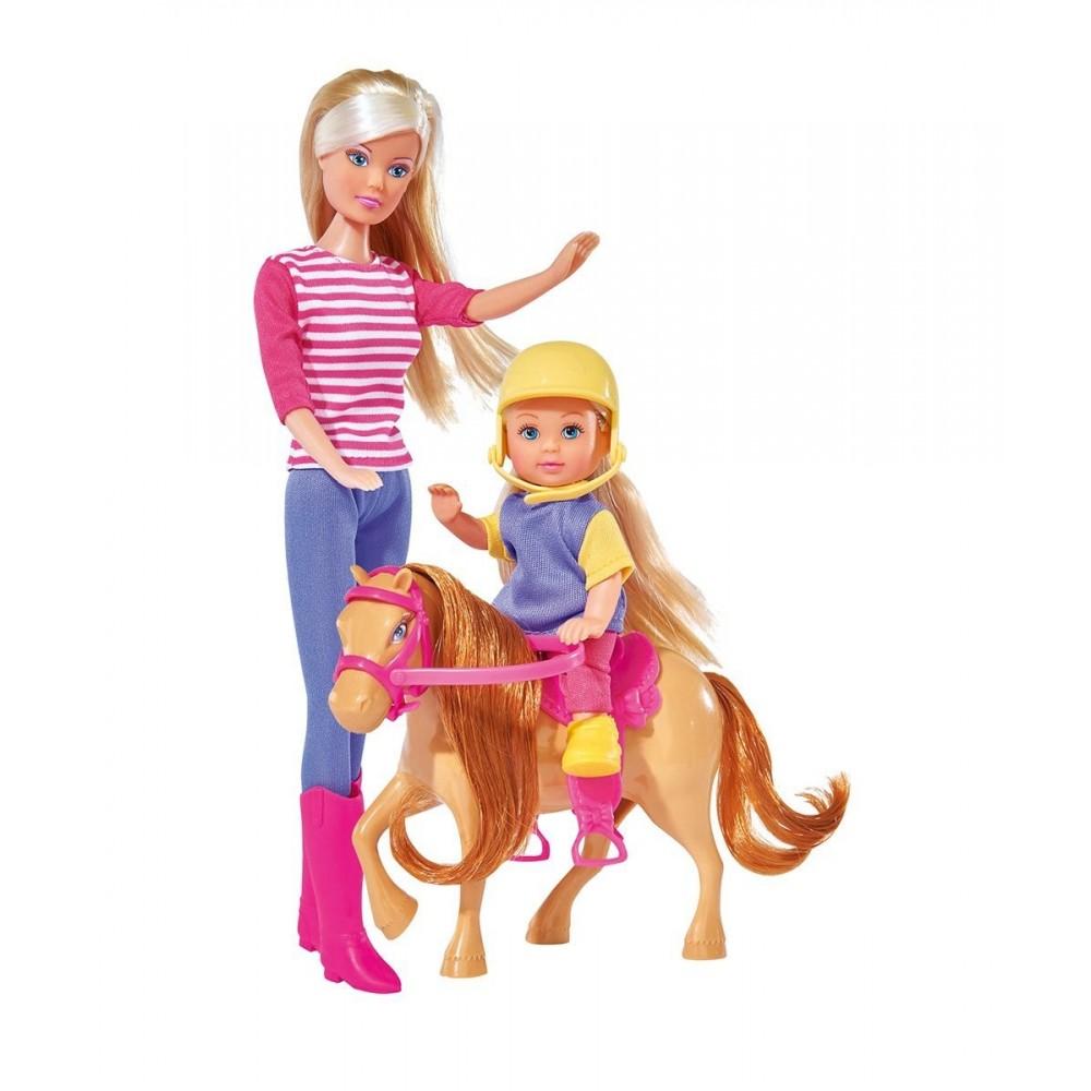 Кукла Штеффи и Еви с пони на ферме, 29 см.Куклы Steffi (Штеффи)<br>Кукла Штеффи и Еви с пони на ферме, 29 см.<br>