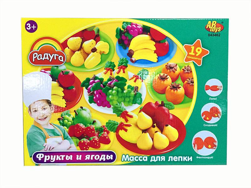Масса для лепки  Фрукты и ягоды, с 6 баночками разных цветов и тематическими аксессуарами - Наборы для лепки, артикул: 165768
