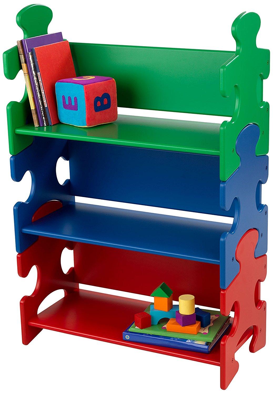 Система хранения Пазл в ярких цветах Puzzle Book Shelf PrimaryКорзины для игрушек<br>Система хранения Пазл в ярких цветах Puzzle Book Shelf Primary<br>