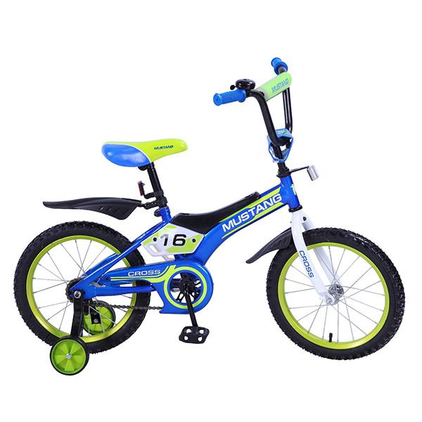 """Велосипед детский Mustang Cross с колесами 16"""", рама TR-тип, страховочные колеса, звонок, сине/салатовый от Toyway"""
