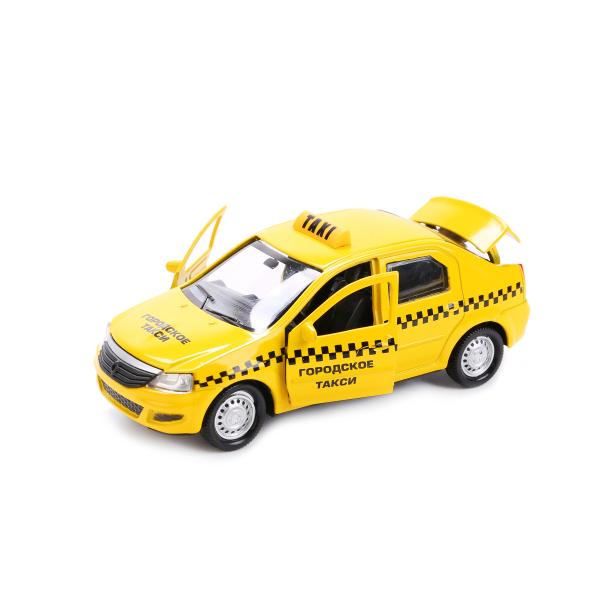 Купить Металлическая инерционная машина - Renault Logan – Такси, 12 см, Технопарк