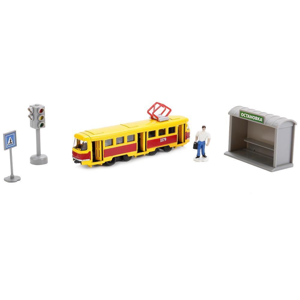 Игровой набор – Трамвай с остановкой и аксессуарами, 16, 5 см, Технопарк  - купить со скидкой