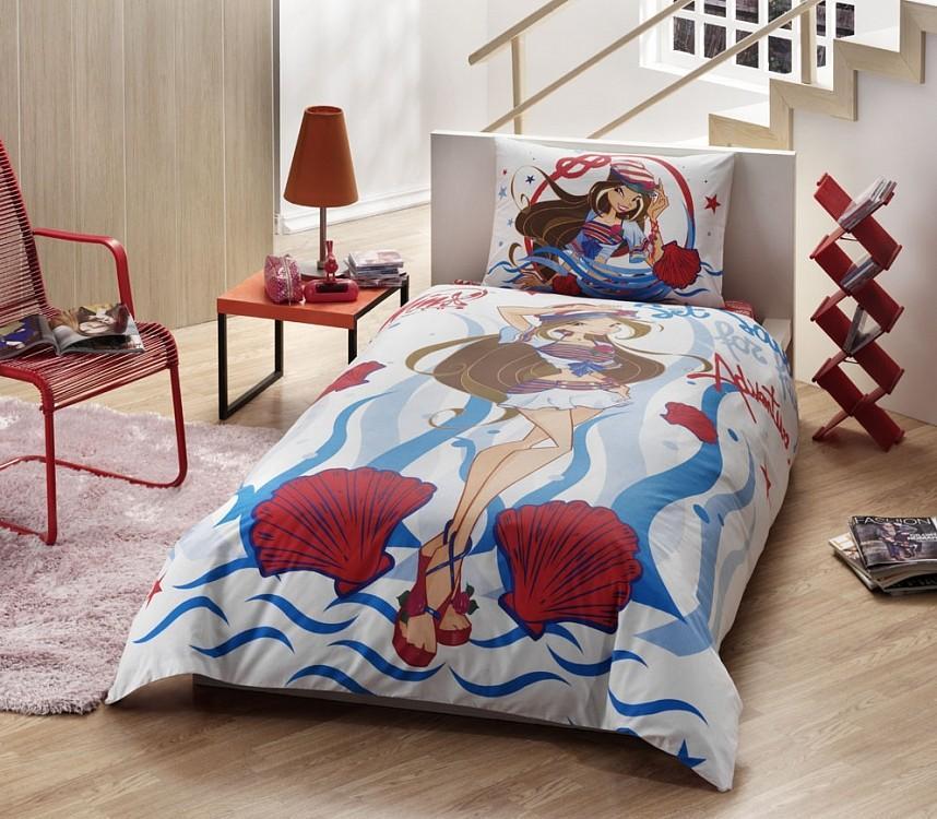 Купить Комплект детского постельного белья, Disney, 1, 5 спальное - WINX FLORA OCEAN, Tac