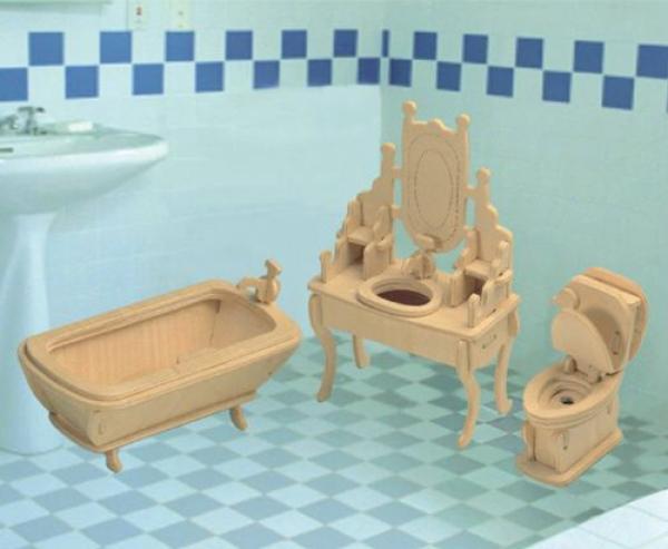 Сборная деревянная модель - Ванная комнатаПазлы объёмные 3D<br>Сборная деревянная модель - Ванная комната<br>