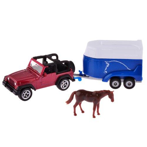 Купить Игрушечная модель - Джип с трейлером для перевозки лошадей, Siku