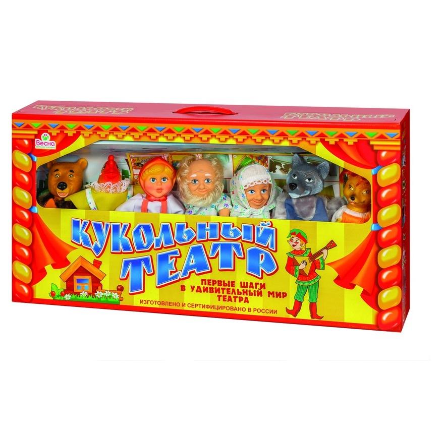 Набор  Кукольный театр, 7 персонажей, сцена, сменные декорации, реквизит, сценарий - Детский кукольный театр , артикул: 124004