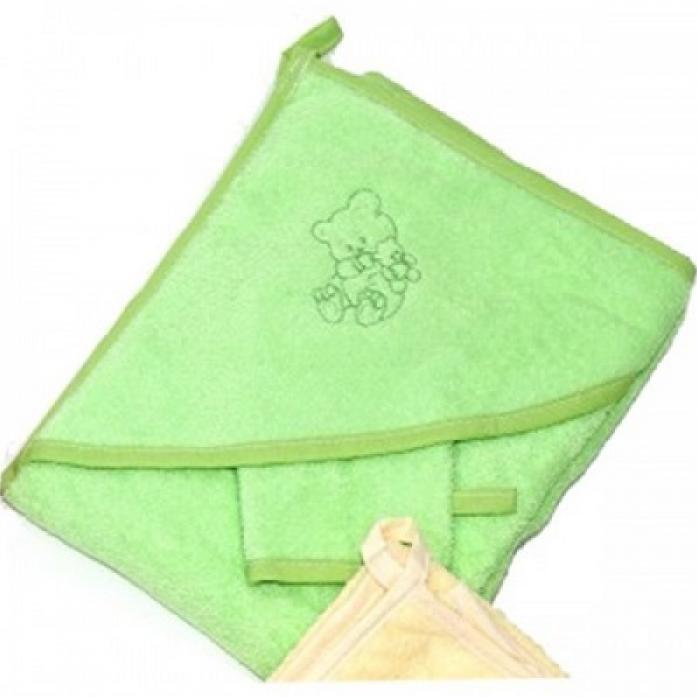 Пеленка-полотенце для купания с варежкой, зеленая