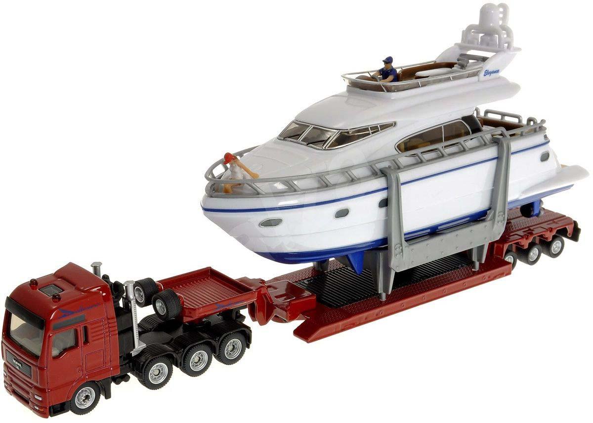 Купить Игрушечная модель - Тягач-трейлер с яхтой, 1:87, Siku