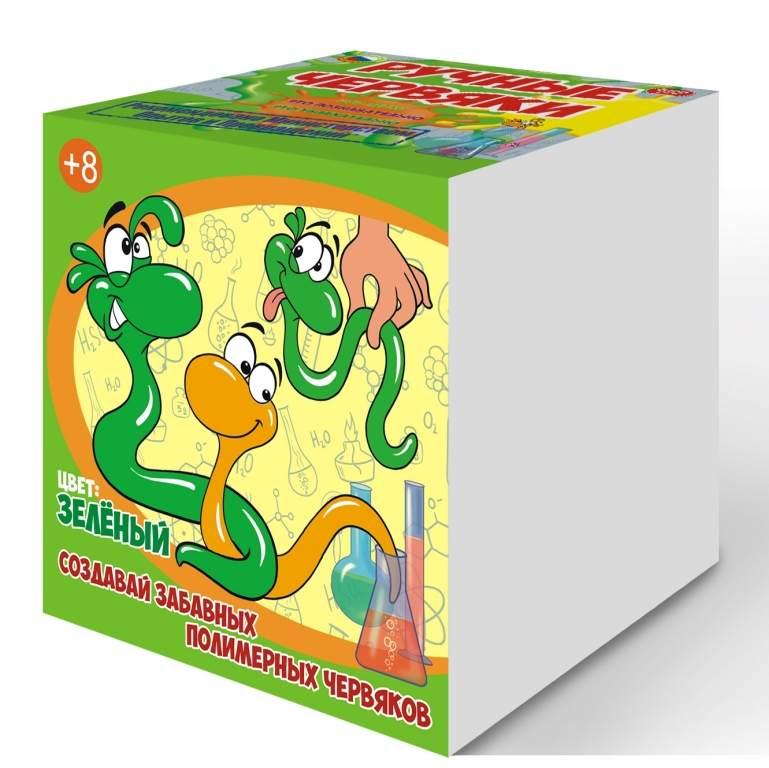 Набор для опытов – Цветные полимерные червяки, зеленыйЮный химик<br>Набор для опытов – Цветные полимерные червяки, зеленый<br>