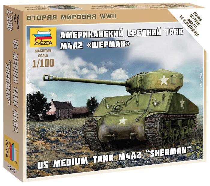 Модель сборная - Американский средний танк М4А2 - ШерманМодели танков для склеивания<br>Модель сборная - Американский средний танк М4А2 - Шерман<br>