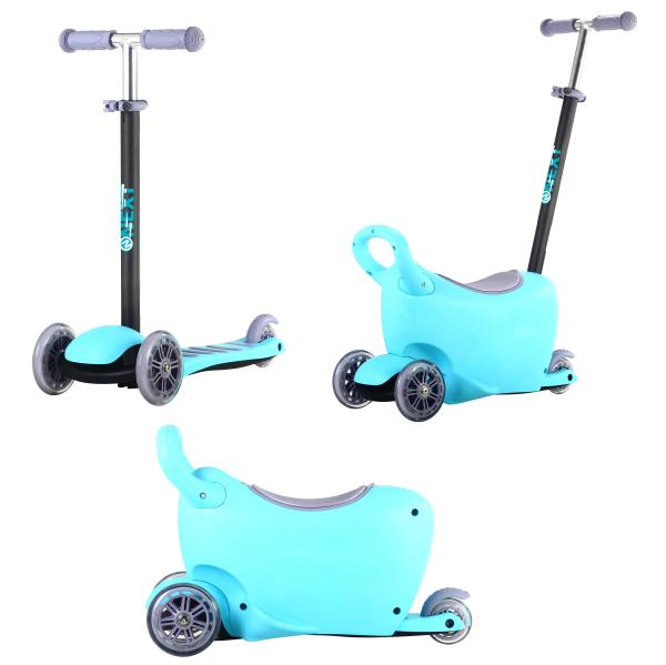 Трехколесный самокат 3 в 1 с ящиком для игрушек, колеса 12 и 8 см, голубой