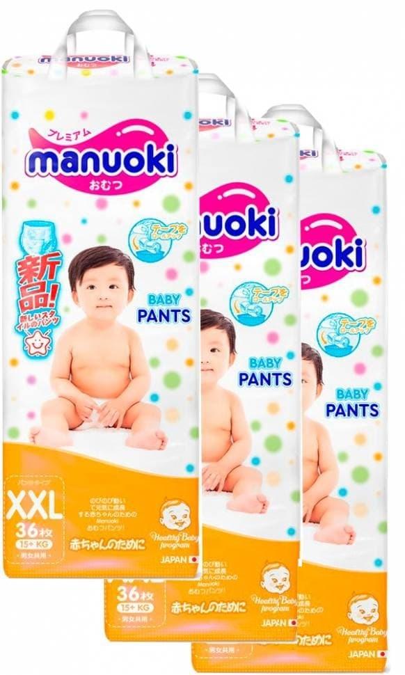 Купить Подгузники трусики размер XXL, 15 кг +, 3 пачки по 36 шт, Manuoki