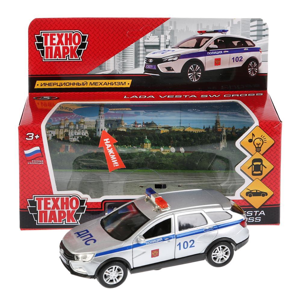 Купить Машина металлическая Lada Vesta Sw Cross – Полиция, 12 см, свет-звук открываются двери, Технопарк