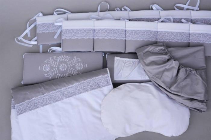 Комплект в кроватку Chepe for Nuovita Tenerezza/Нежность, 6 предметов, цвет бело-серый фото