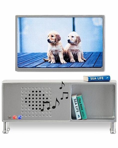 Мебель для домика - Музыкальный центр и телевизор серого цветаКукольные домики<br>Мебель для домика - Музыкальный центр и телевизор серого цвета<br>