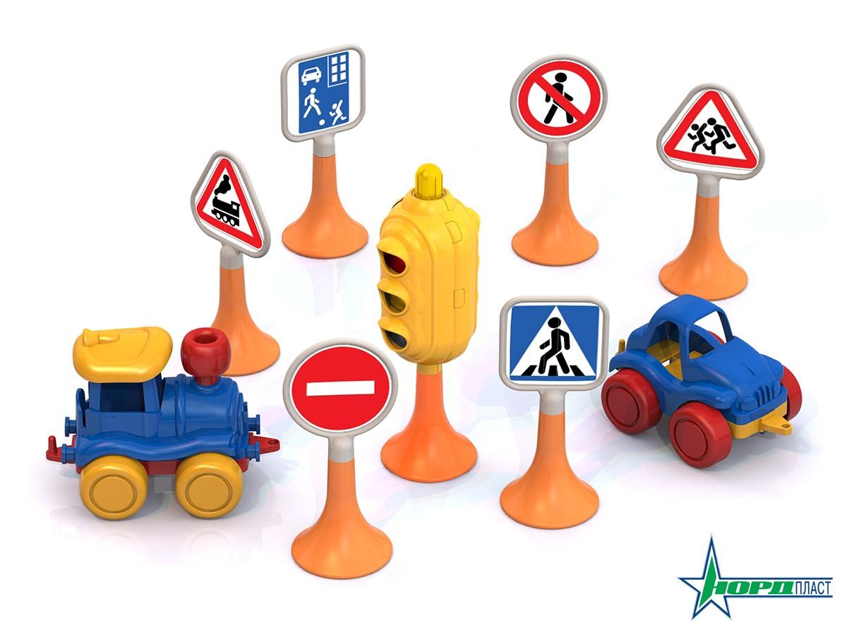 Набор - Дорожные знаки №3 светофор, 6 знаков, 2 машинки нордикЗнаки дорожного движения, светофоры<br>Набор - Дорожные знаки №3 светофор, 6 знаков, 2 машинки нордик<br>