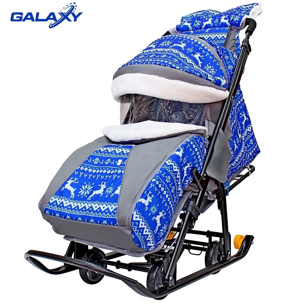Санки-коляска на больших мягких колесах с сумкой и муфтой - Snow Galaxy Luxe, зимняя ночь, олени синие R-Toys