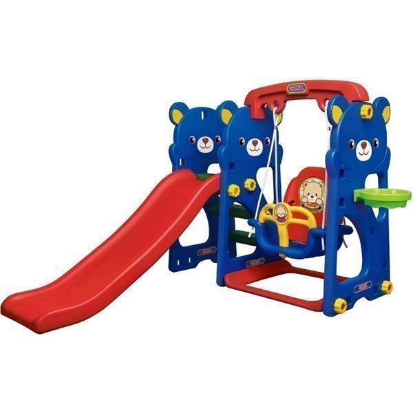 Игровая зона Мишка с качелями, горкой и баскетбольным кольцом - Детские игровые горки, артикул: 161470