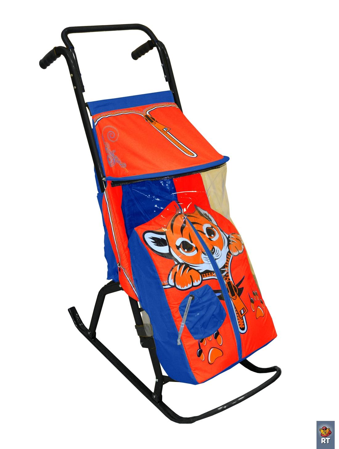 Купить Санки-коляска - Снегурочка-2-Р – Тигренок, цвет синий-красный, RT