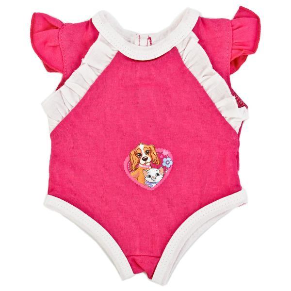 Купить Одежда для кукол – Боди цвета фуксия на плечиках, размер 40-42 см. в пакете, Карапуз