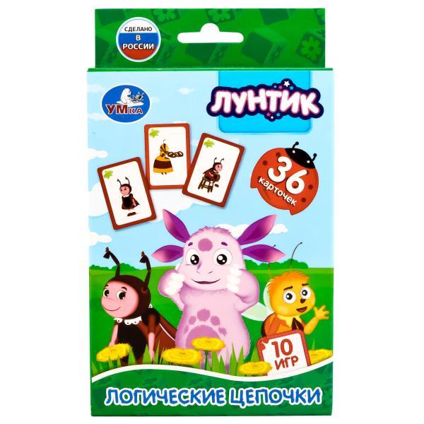 Карточки развивающие из серии Лунтик – Логические цепочки, 36 карточекРазвивающие пособия и умные карточки<br>Карточки развивающие из серии Лунтик – Логические цепочки, 36 карточек<br>