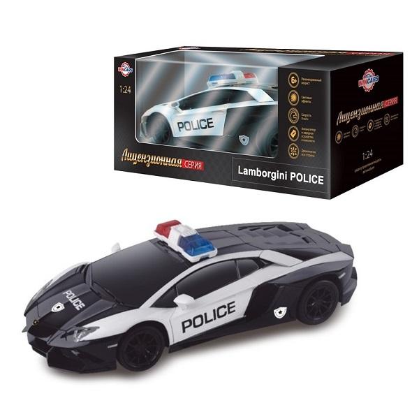 картинка Радиоуправляемый лицензированный автомобиль Lamborghini - Полиция, масштаб 1:24, ЗУ в комплекте от магазина Bebikam.ru