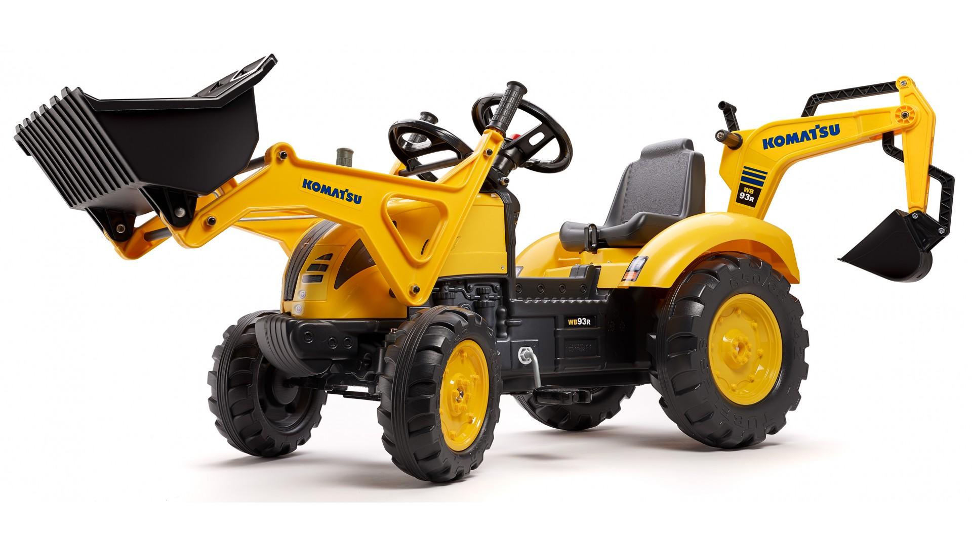 Трактор-экскаватор педальный, желтый, 185 см