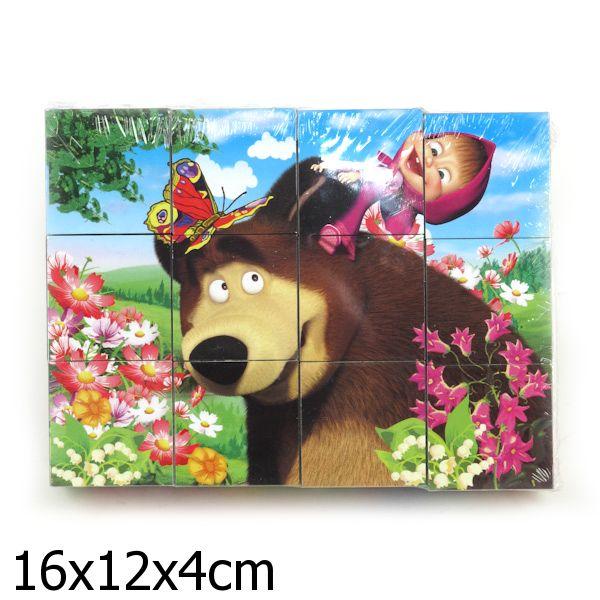 Набор из 12 кубиков «Маша и медведь»Маша и медведь игрушки<br>Набор из 12 кубиков «Маша и медведь»<br>