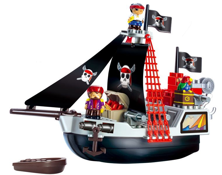 Пиратский корабль. Игровой набор-конструкторЗамки, рыцари, крепости, пираты<br>Детский конструктор Smoby: пиратский корабль содержит более 29 деталей.<br>Размеры корабля: 49 х 19 х 35 см.<br>