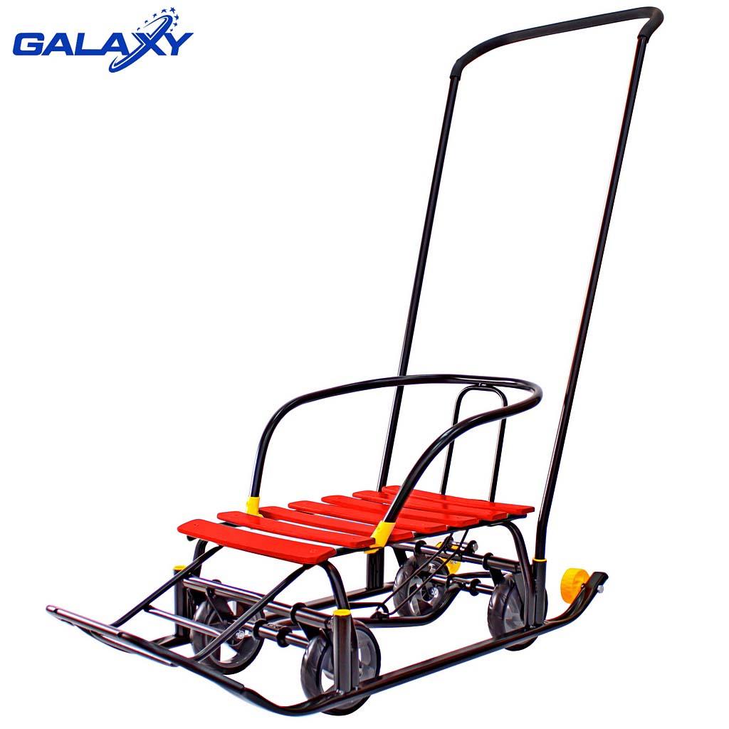 Снегомобиль на больших мягких колесах - Snow Galaxy Black Auto, красные рейкиСанки и сани-коляски<br>Снегомобиль на больших мягких колесах - Snow Galaxy Black Auto, красные рейки<br>