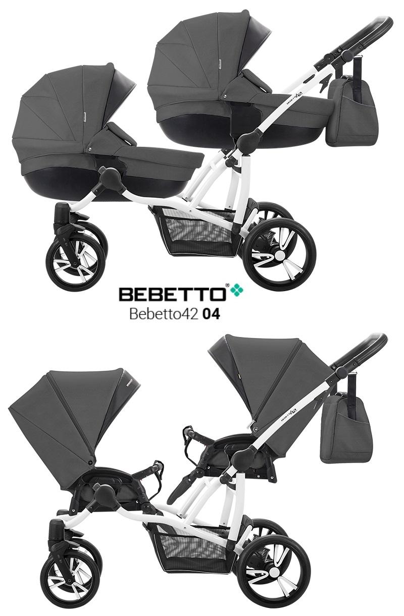 Купить Детская коляска Bebetto 42 2017 для двойни 2 в 1, шасси белая/BIA, цвет – 04