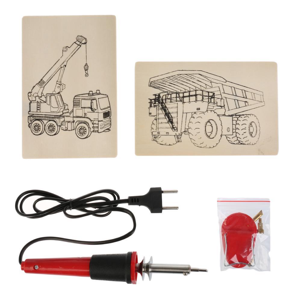 Купить Набор для выжигания: выжигательный аппарат, 6 насадок, 2 эскиза серия Строительная Техника, Multiart