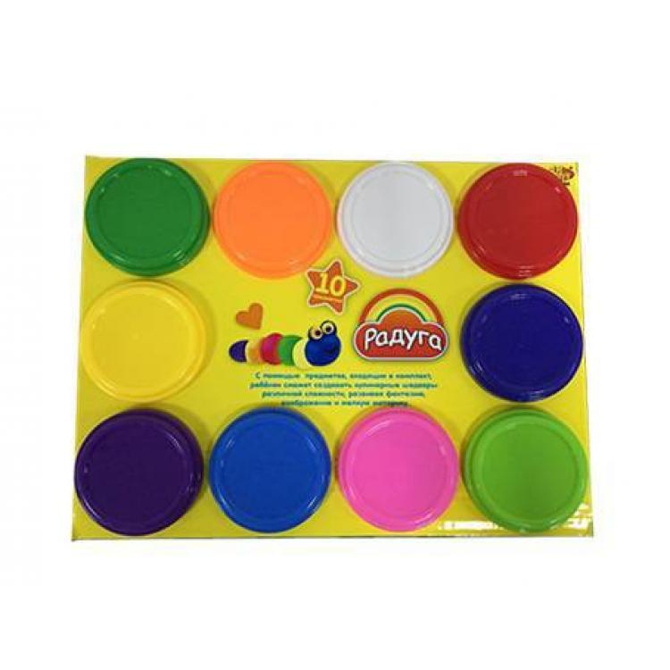 Масса для лепки, 10 разноцветных баночек, в коробкеНаборы для лепки<br>Масса для лепки, 10 разноцветных баночек, в коробке<br>