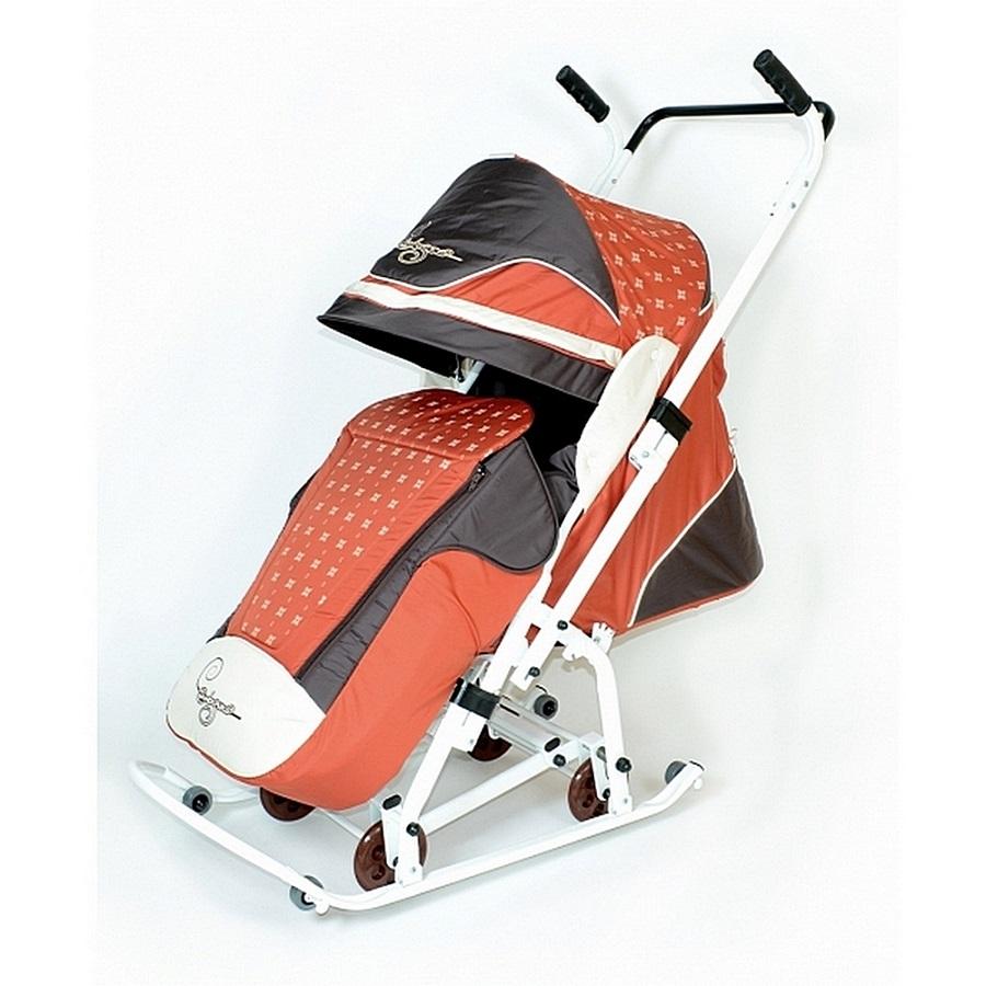 Купить Санки-коляска Скользяшки Мозаика 0932-Р14, цвет: терракотовый, коричневый, светло-бежевый, RT
