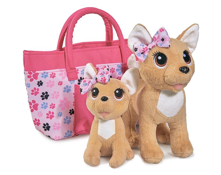 Купить Плюшевая собачка Chi-Chi love - Счастливая семья, 2 собачки в сумочке, 20 и 14 см, Simba