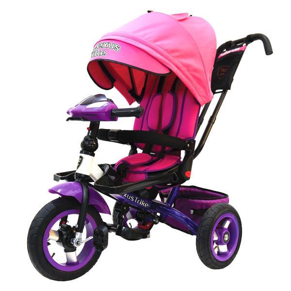 Купить Велосипед 3-колесный цвет – розово/фиолетовый, с резиновыми надувными колесами 12 и 10 дюймов, складной руль, светомузыкальная панель, Lexus Trike