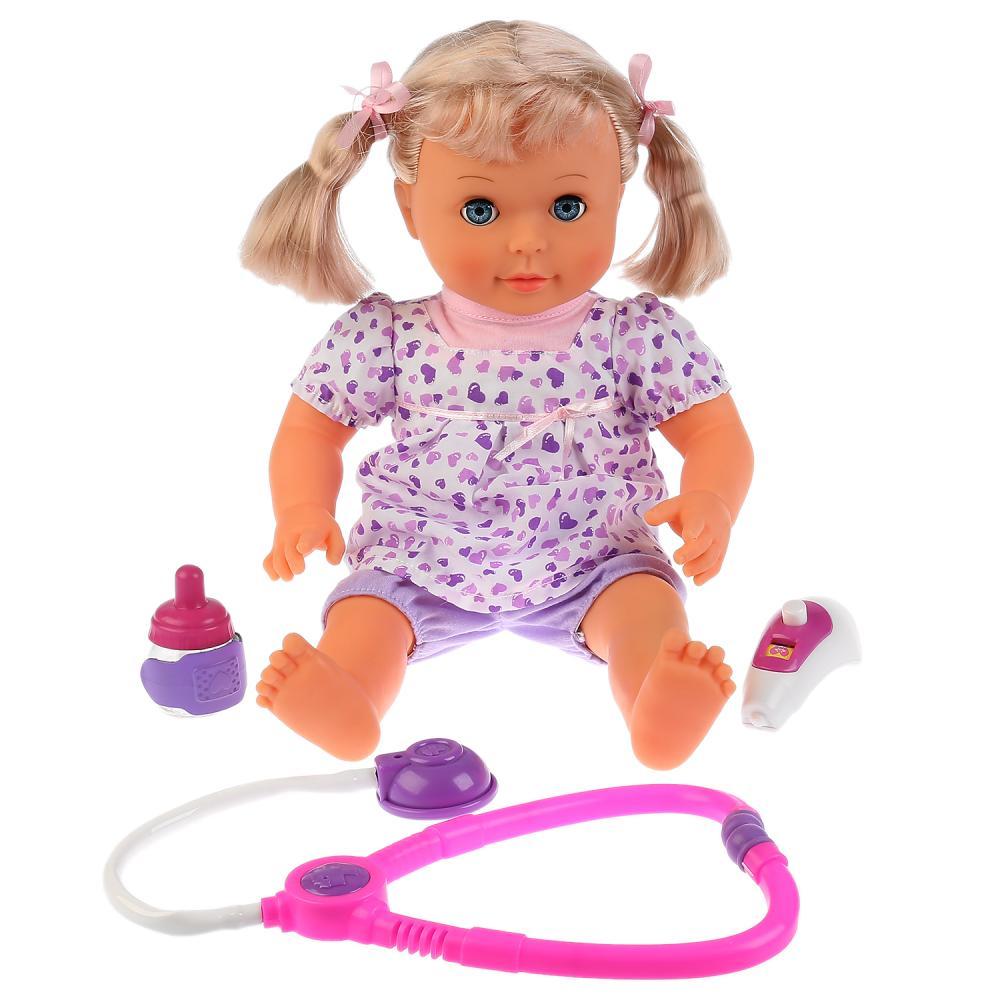Купить Интерактивная кукла - Марина, 40 см, 10 песен из м/ф, мягкое тело, болит ножка, с набором доктора, Карапуз