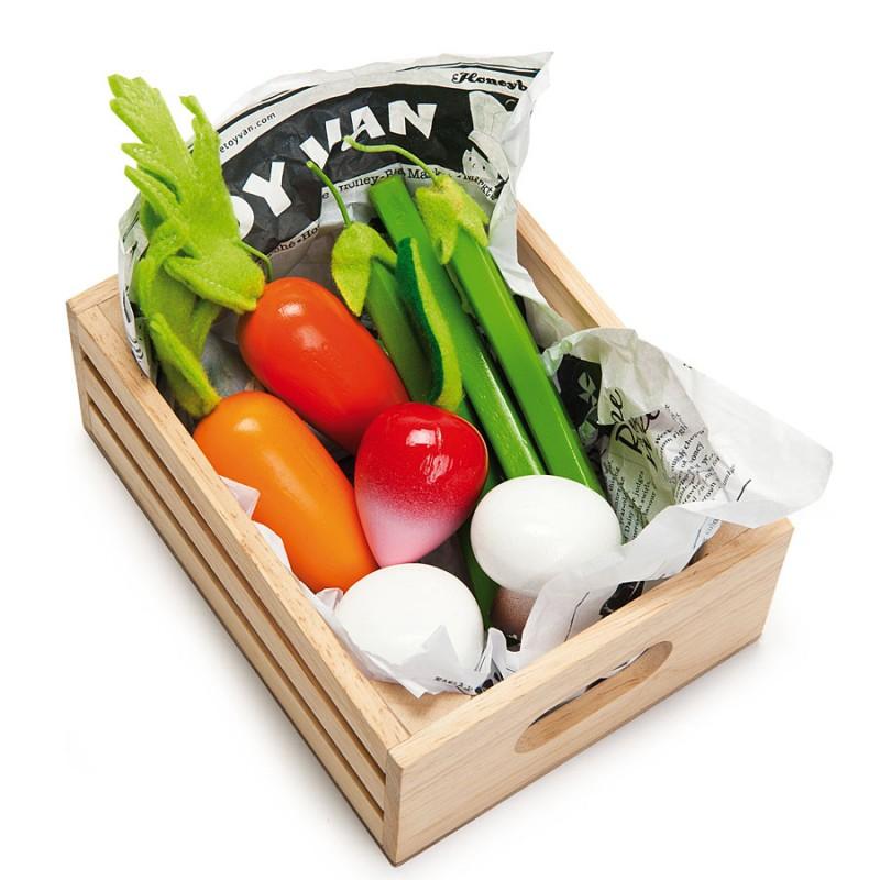 Еда игрушечная - Овощи в ящичкеДетская игрушка Касса. Магазин. Супермаркет<br>Еда игрушечная - Овощи в ящичке<br>