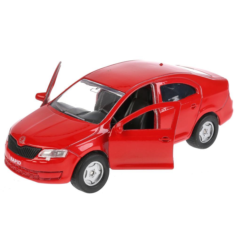 Купить Металлическая инерционная модель – Skoda Rapid, красная, 12 см, открывающиеся двери и багажник -WB), Технопарк