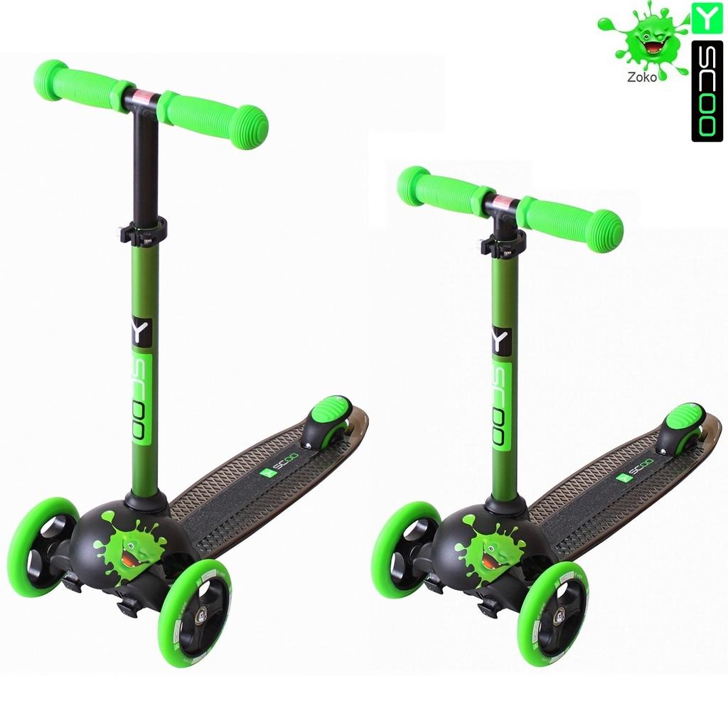 Купить Самокат трехколесный Y-Scoo RT Trio Diamond 120 Monsters, 3 высоты, с блокировкой колес, цвет Zoko зеленый