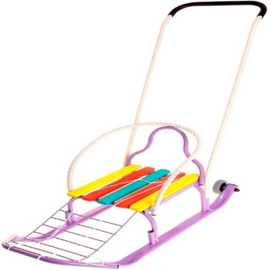 Санки со съемно-переставляемым толкателем - Кирюша-4К, фиолетовыеСанки и сани-коляски<br>Санки со съемно-переставляемым толкателем - Кирюша-4К, фиолетовые<br>