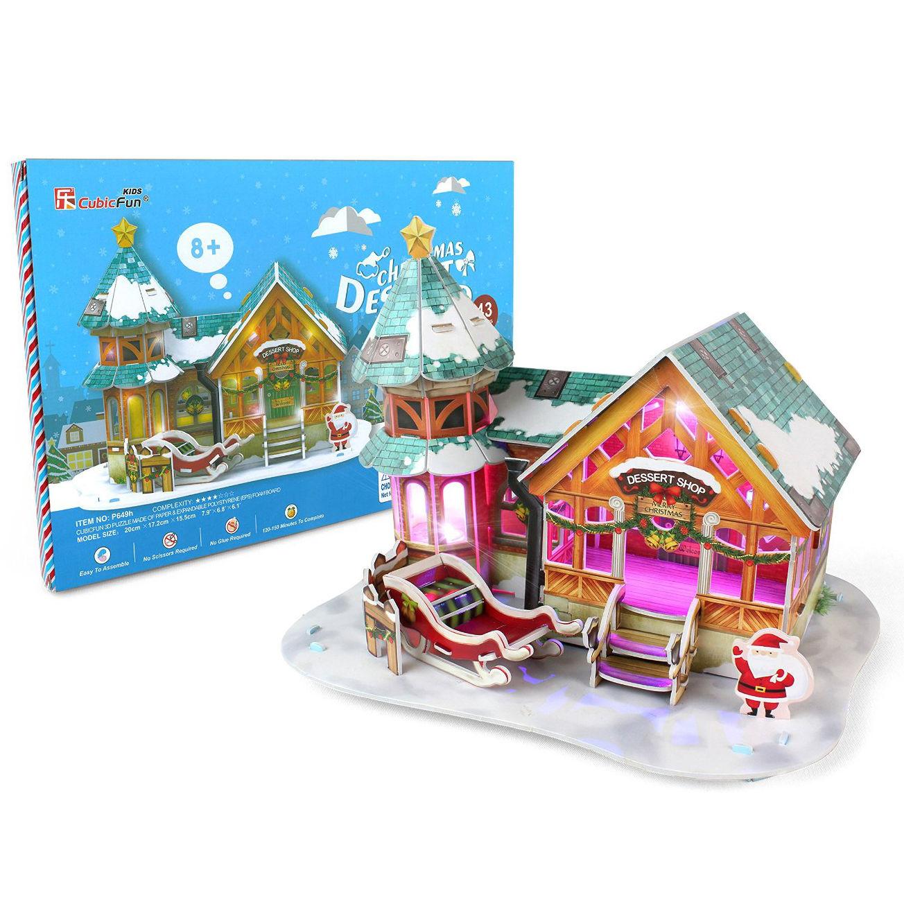 Купить 3D-пазл с подсветкой - Рождественский домик, 43 детали, Cubic Fun