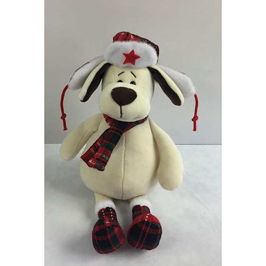 Мягкая игрушка - Собака в ушанке с шарфом, 18 см.Собаки<br>Мягкая игрушка - Собака в ушанке с шарфом, 18 см.<br>