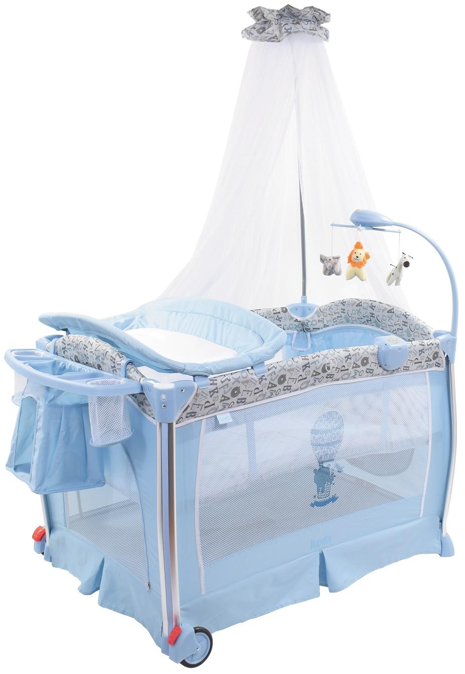 Купить Детская кровать-манеж Nuovita Fortezza, цвет - Azzurro / Лазурный